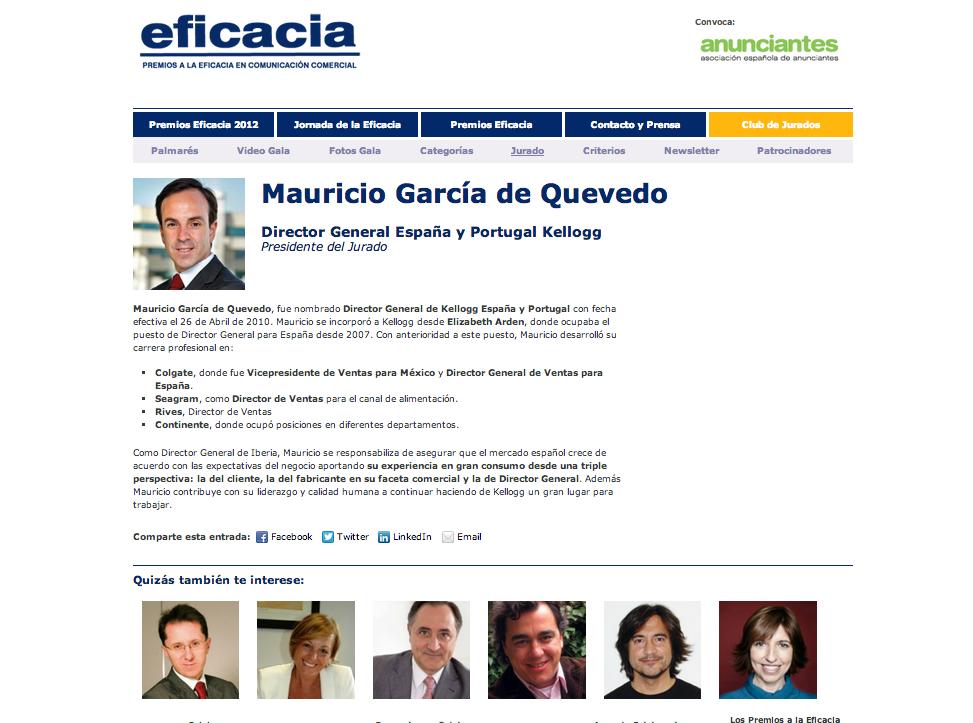 Web Ficha de Jurados Premios Eficacia 2012 | REDTORRES