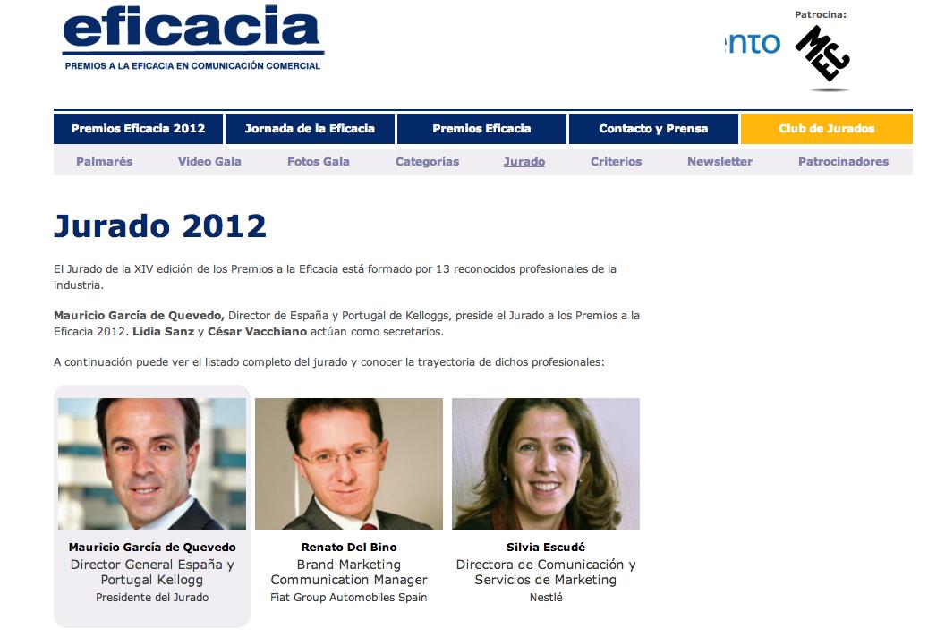 Desarrollo Web Jurado Premios Eficacia 2012 | REDTORRES