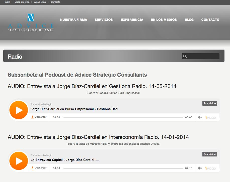 Detalle Clippings Radio en web Advice Strategic Consultants | Red Torres